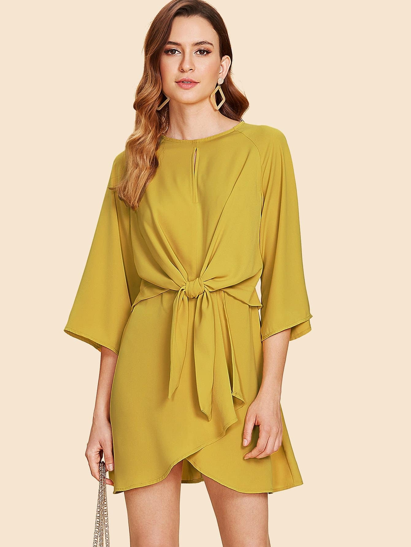 Bell Sleeve Knotted Wrap Front Dress