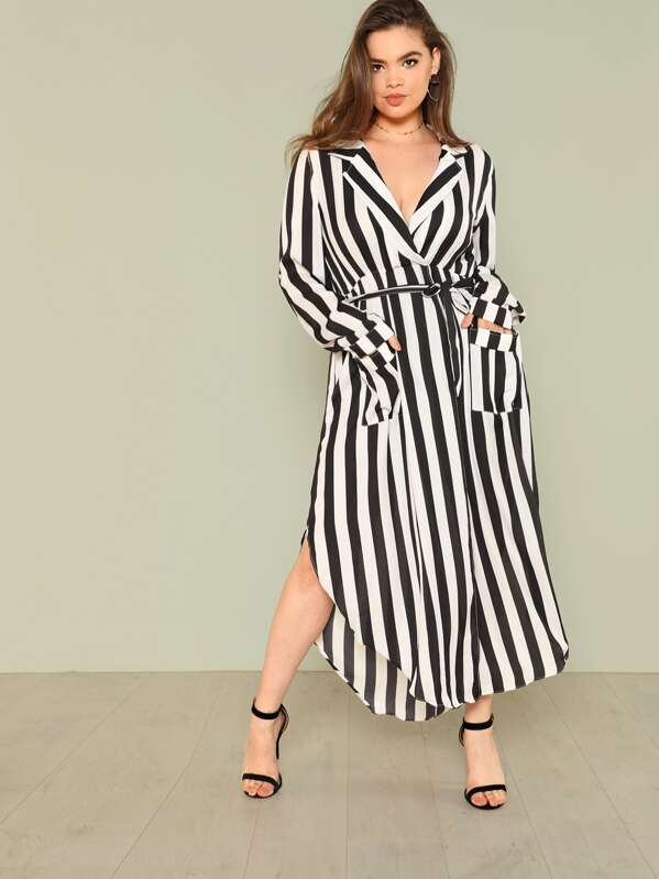Plus V Cut Neck Tie Waist Split Side Striped Dress | SHEIN