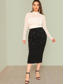Plus Pearl Beaded Ribbed Knit Skirt