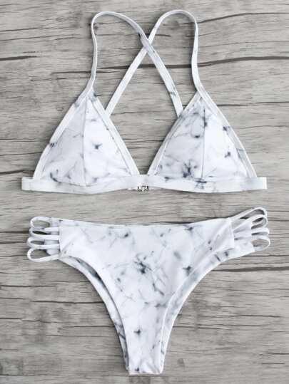 Marble Pattern Bikini Set