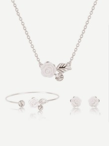 Flower Design Pendant Necklace & Earrings & Bracelet