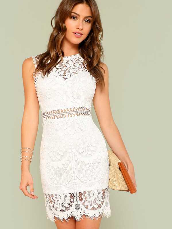8c1e5fb2e337 Scalloped Hem Guipure Lace Bodycon Dress   SHEIN UK