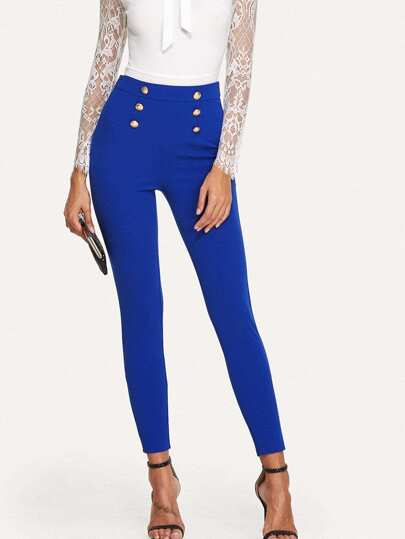 Button Embellished Skinny Pants