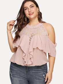 Plus Lace Panel Ruffle Dot Blouse