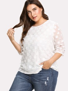 allover embroidered circle applique blouse