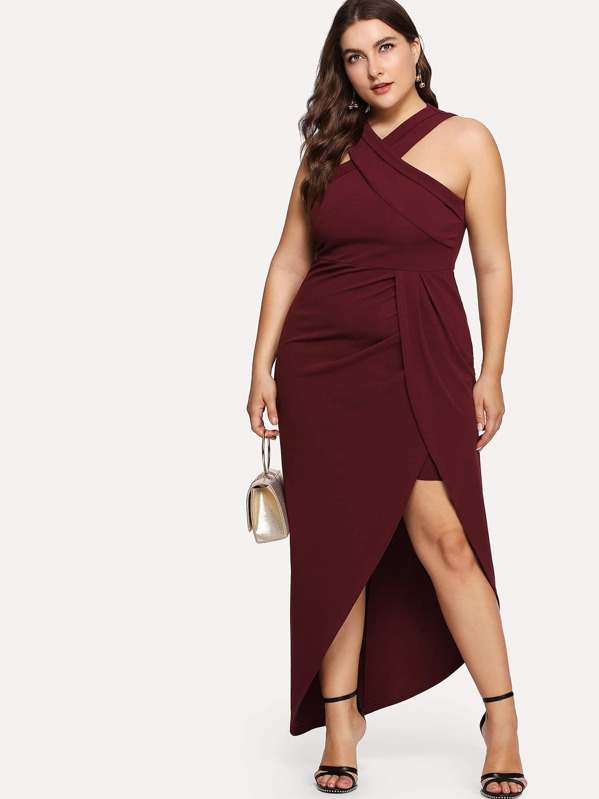 fb14e1f991f Plus Cross Halter Neck Wrap Dress   SHEIN