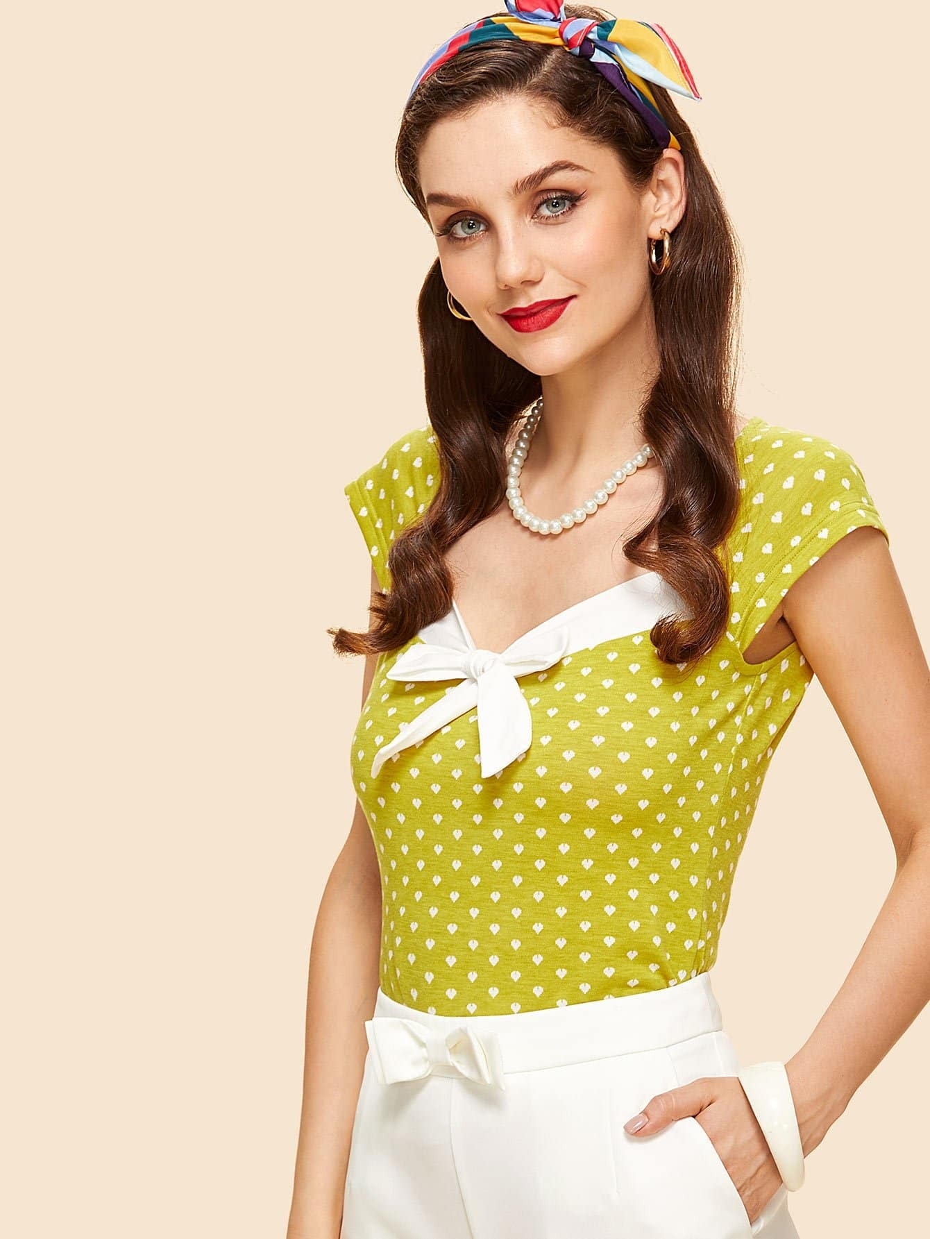 Contrast Knot Front Polka Dot Tee