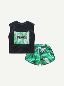 Toddler Boys Tropical Print Vest With Drawstring Shorts