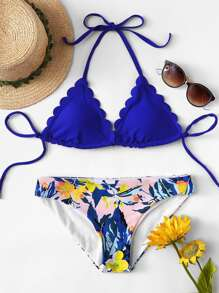 Scallop Halter Top With Plants Print Bikini Set