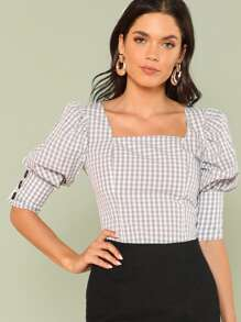 Square Neck Gigot Sleeve Plaid Top
