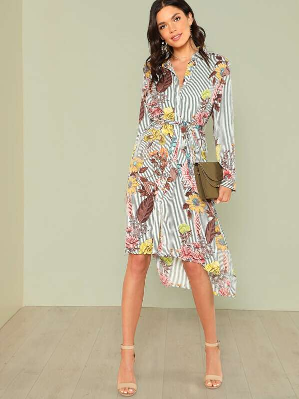 7c5492b091af Slit Side Mixed Print Dip Hem Shirt Dress | SHEIN UK