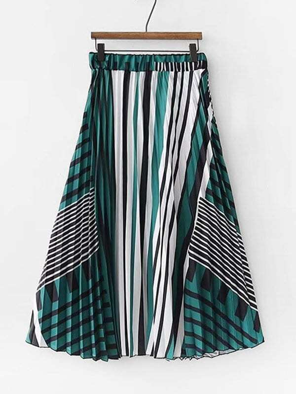 f5c4af189d6c Abstract Striped Pleated Skirt | SHEIN