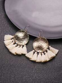 Round Disc Tassel Drop Earrings 1pair