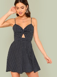 Twist Front Knot Back Dot Cami Dress