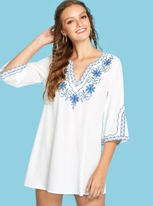 Embroidered V Cut Neck Dress