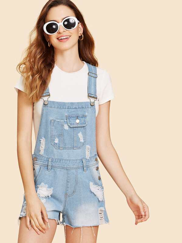 82d5203b5c Bleach Wash Distressed Overall Shorts
