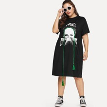 Black Casual Short Sleeve Figure Tshirt Fabric is very stretchy Summer Plus Size Dresses, size features are:Sleeve Length : Short Sleeve,