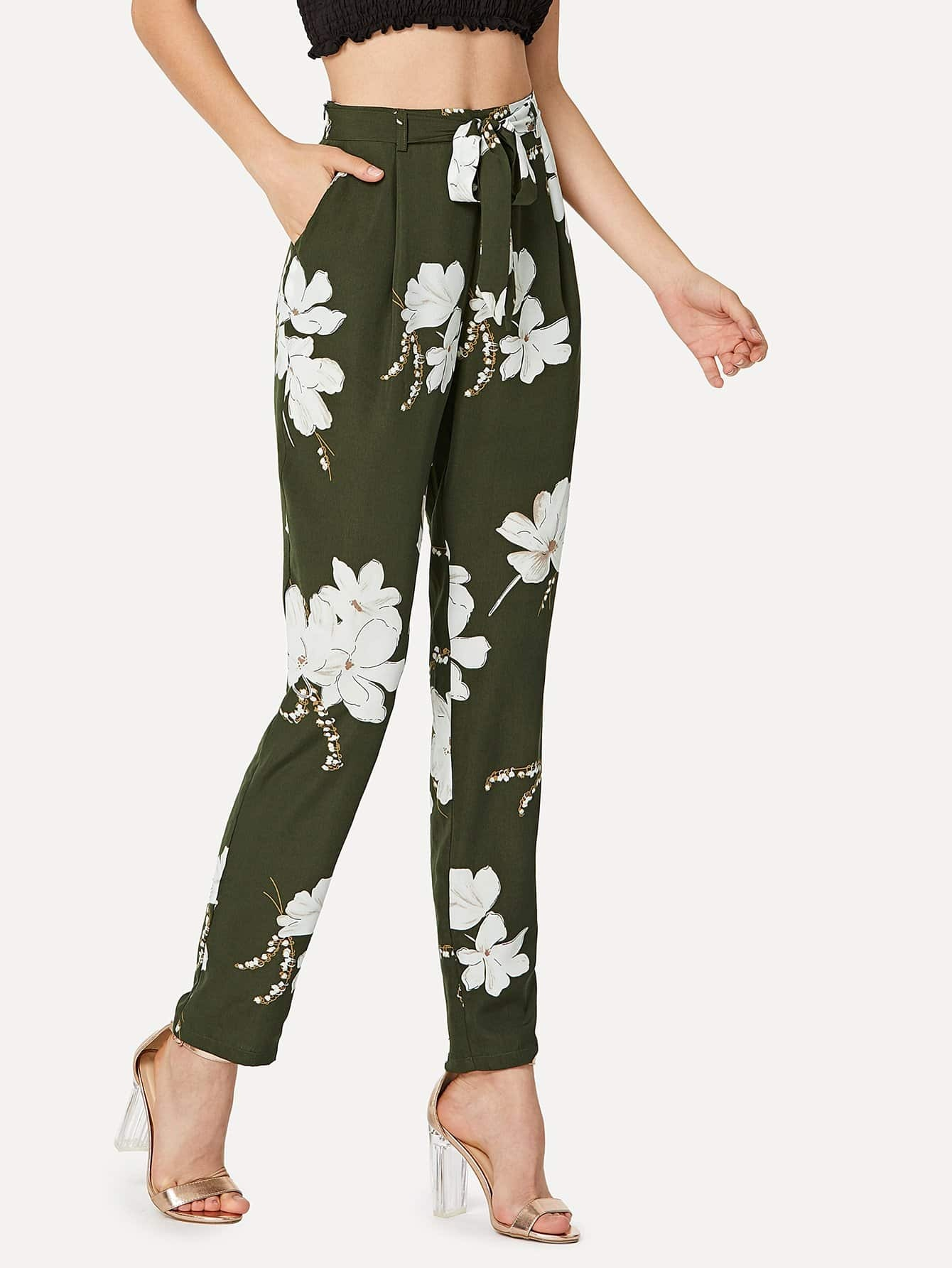 pantalon pliss fleuri avec n ud devant french shein sheinside. Black Bedroom Furniture Sets. Home Design Ideas