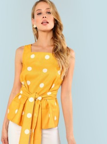 Self Belted Polka Dot Shell Top