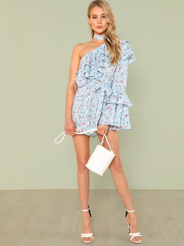 60c56034e258 Layered One Shoulder Floral Romper