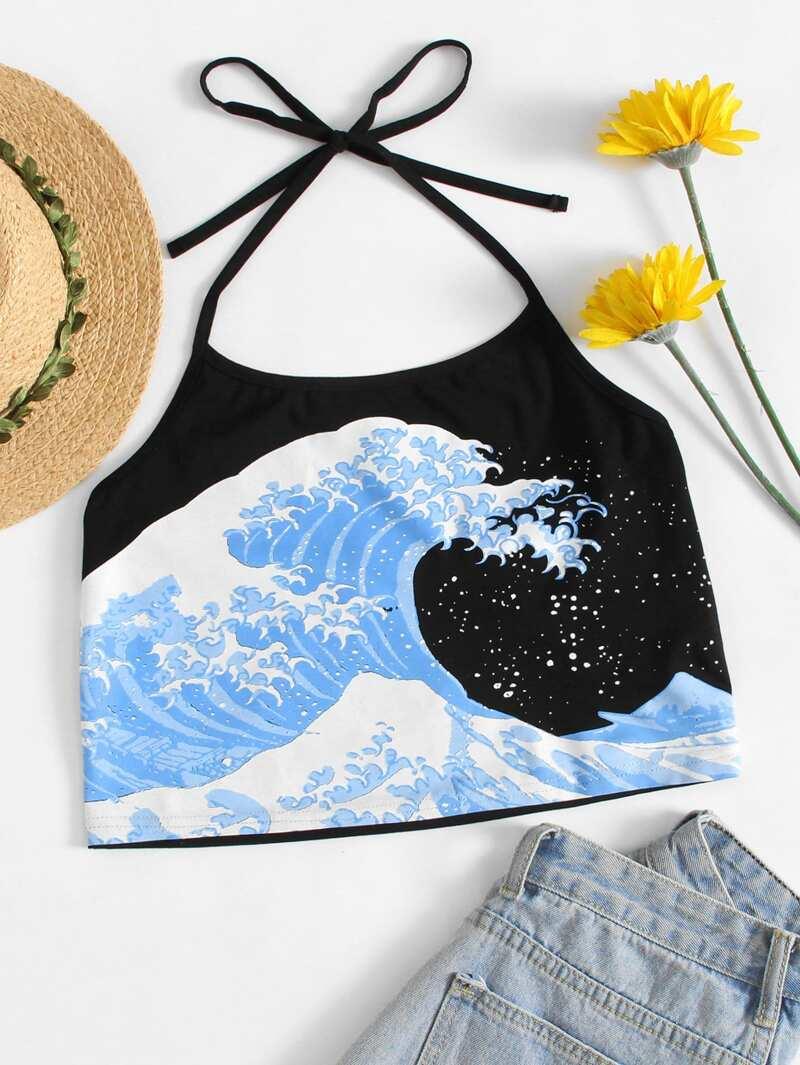a40c04274f3c Top de tirante con estampado de ola del océano