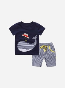 Toddler Boys Striped Whale Tee With Striped Shorts