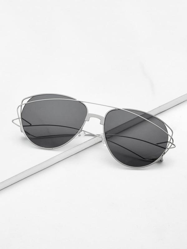 7f51931868 Metal Frame Cat Eye Sunglasses -SheIn(Sheinside)