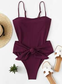 Backless Bow Tie One Piece Swimsuit