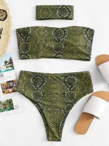Snake Print Bandeau With High Waist Bikini Set With Choker