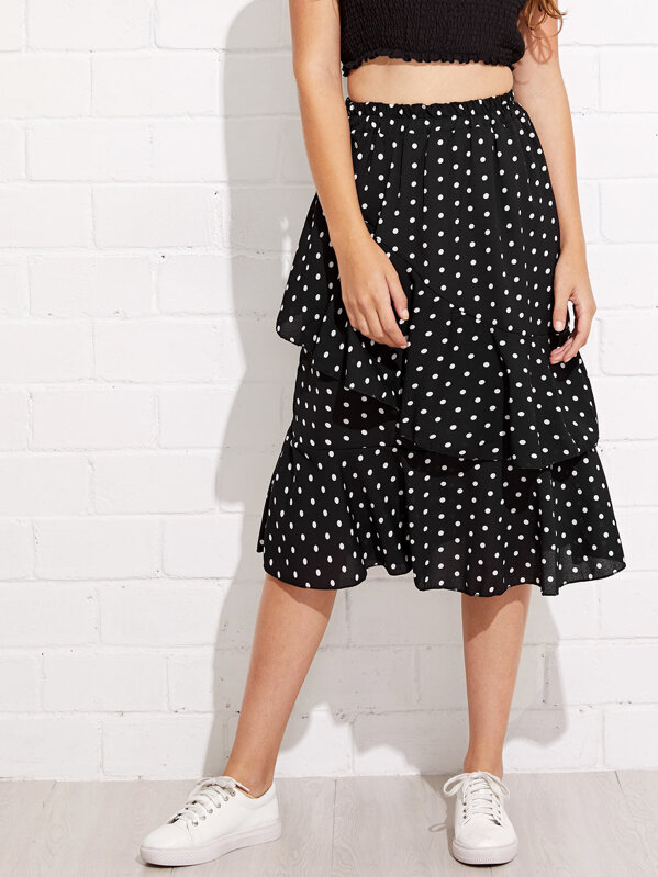 thoughts on drop shipping available Tiered Layer Polka Dot Midi Skirt