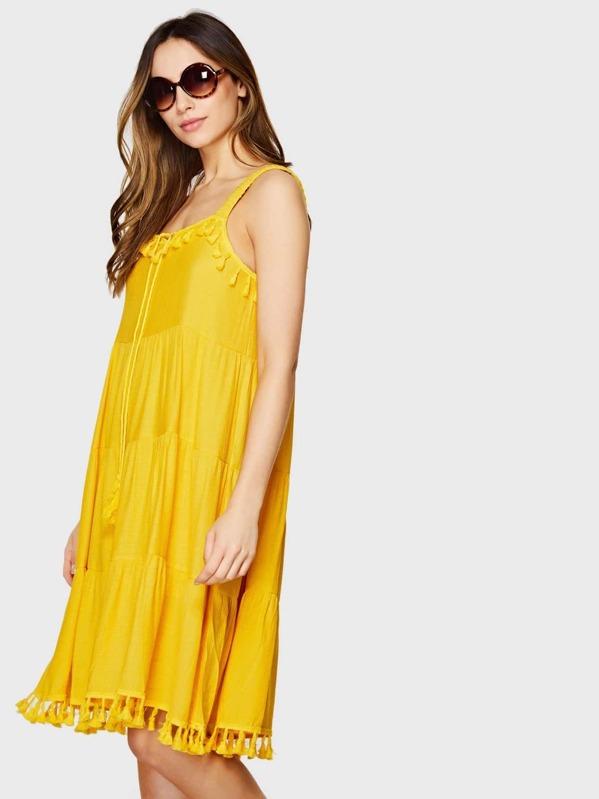 c07f06cc4518 Yellow Tassel Trim Tiered Dress | SHEIN UK
