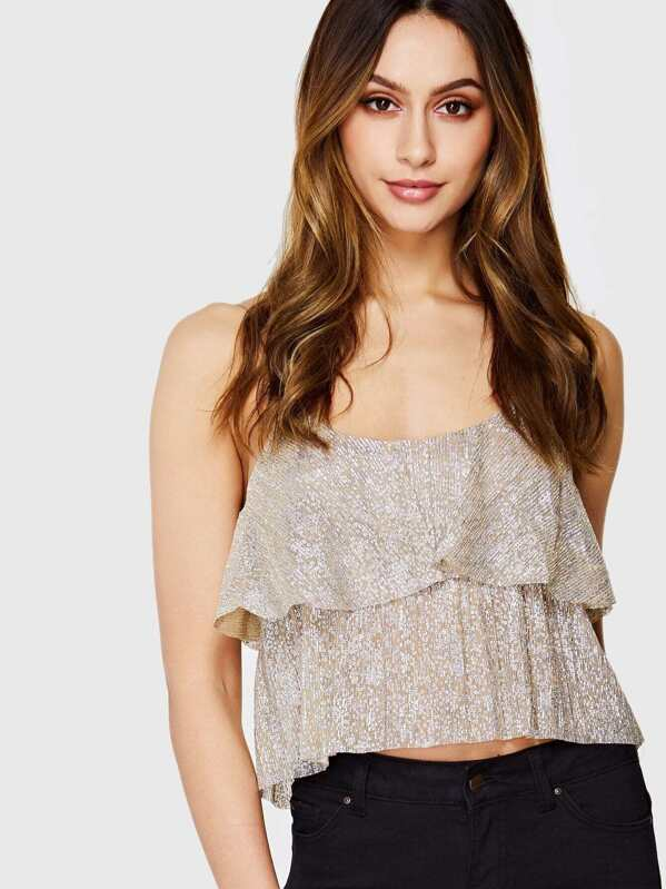 87532374276aa Cheap Layered Crop Cami Top With Sequin for sale Australia