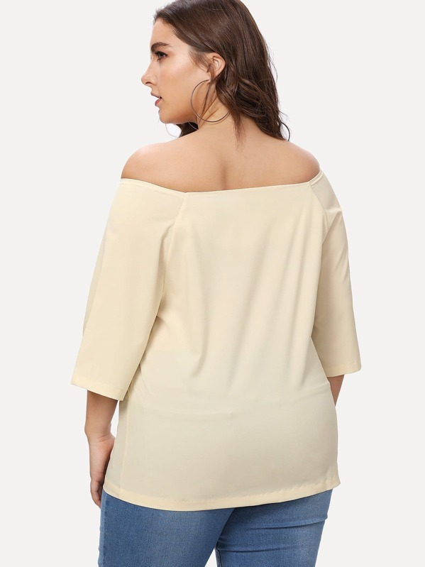 7ff56ad88075bf Plus Off Shoulder Single Breasted Blouse | SHEIN