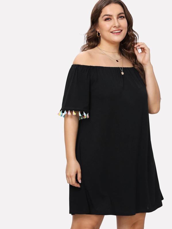 Plus Off Shoulder Colorful Fringe Dress | SHEIN