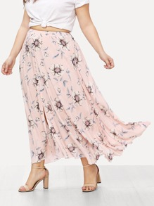 Plus Button Up Floral Skirt