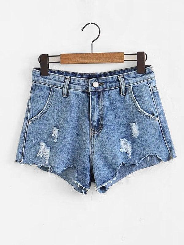 589afcde6f0b78 Shorts in denim tagliati | SHEIN