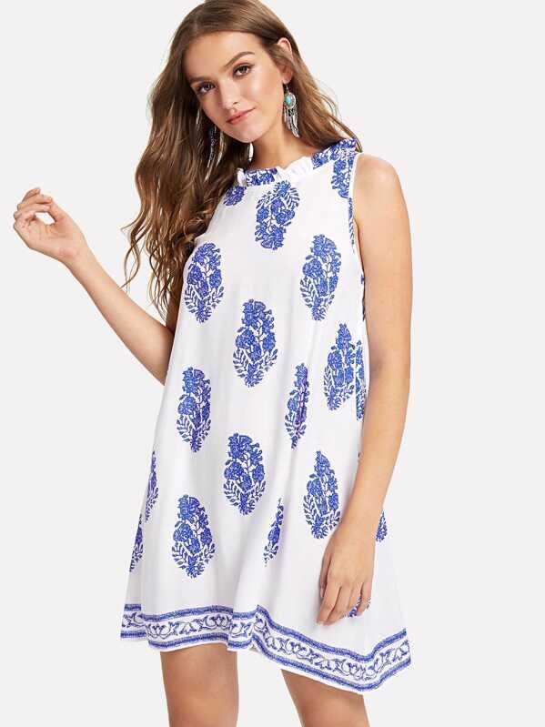 c33bf3b571 Tie Back Leaf Tribal Print Beach Dress | SHEIN