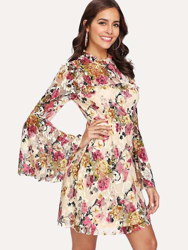 202d74d5b754e Trumpet Sleeve Frill Detail Floral Dress | SHEIN