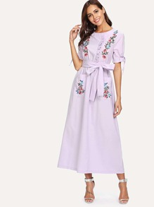 Self Belted Knot Detail Embroidery Dress