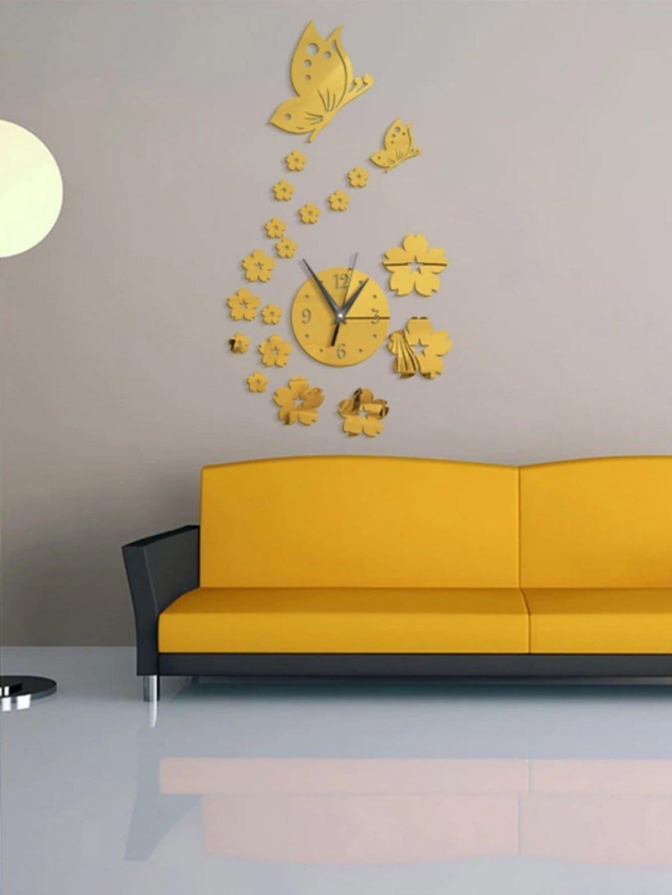 Flower & Clock Mirror Wall Sticker 20pcs -SheIn(Sheinside)