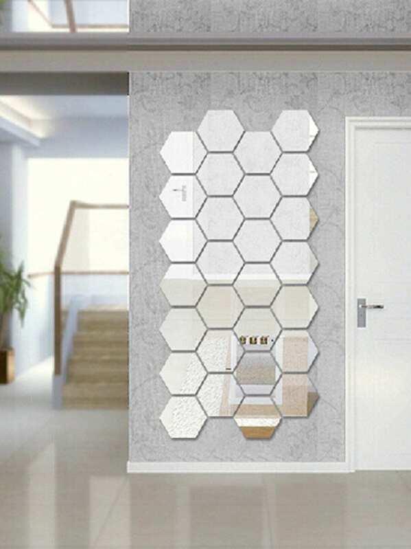 5751ff10f64c Hexagon Mirror Wall Sticker Set 12pcs | SHEIN UK