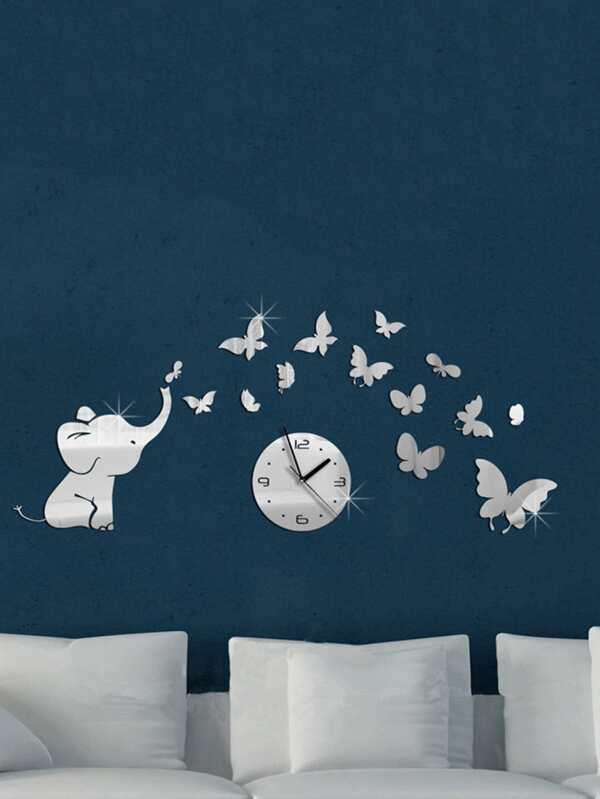 elephant & clock mirror wall sticker set 19pcs -shein(sheinside)