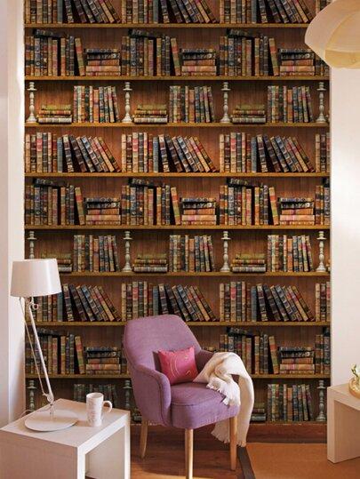 3d self-adhesive book shelf wall sticker | romwe