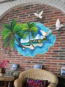 Beach with Coconut Palm Wall Decal