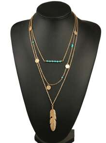 Feather Pendant Layered Chain Necklace
