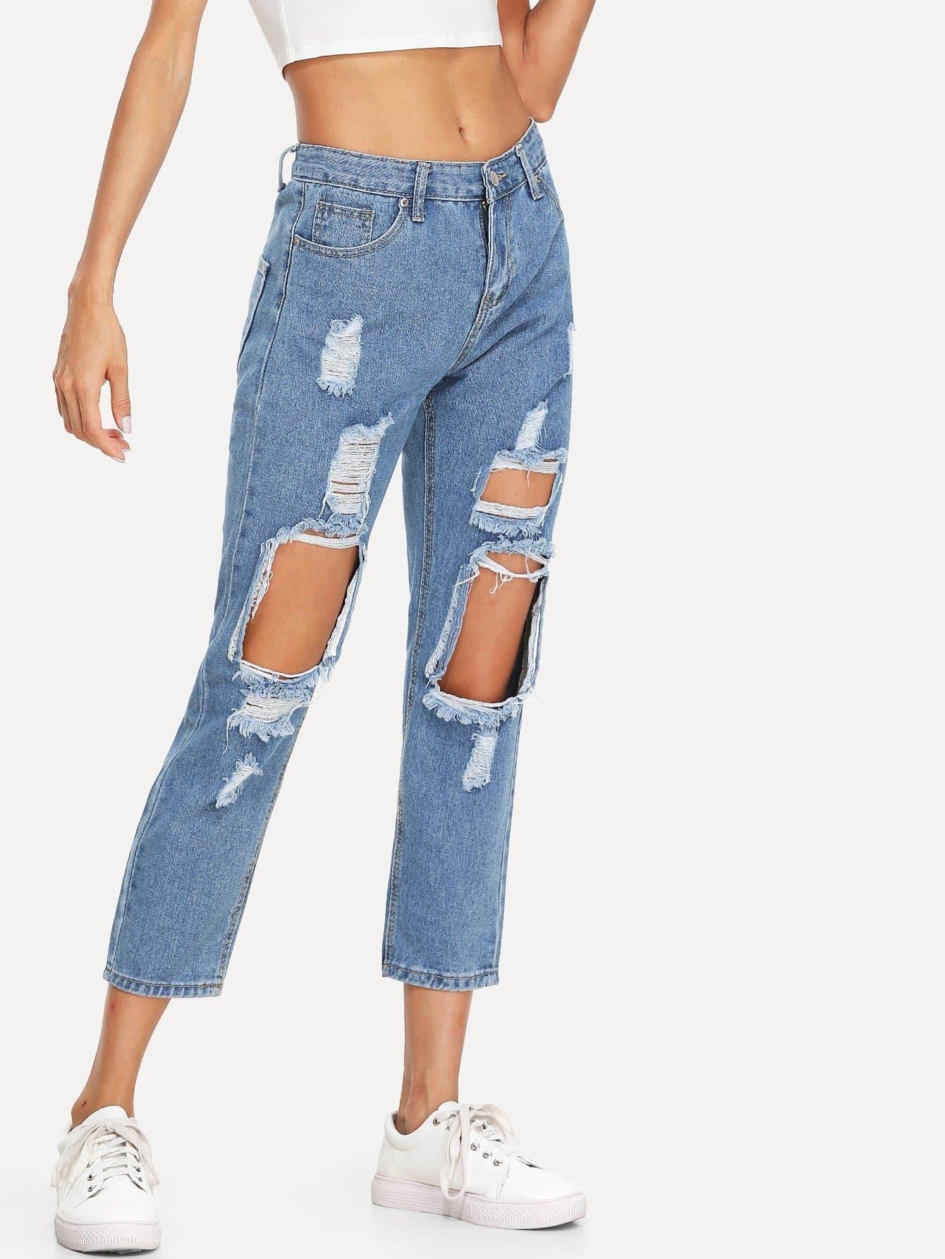 jeans trou d chir french shein sheinside. Black Bedroom Furniture Sets. Home Design Ideas
