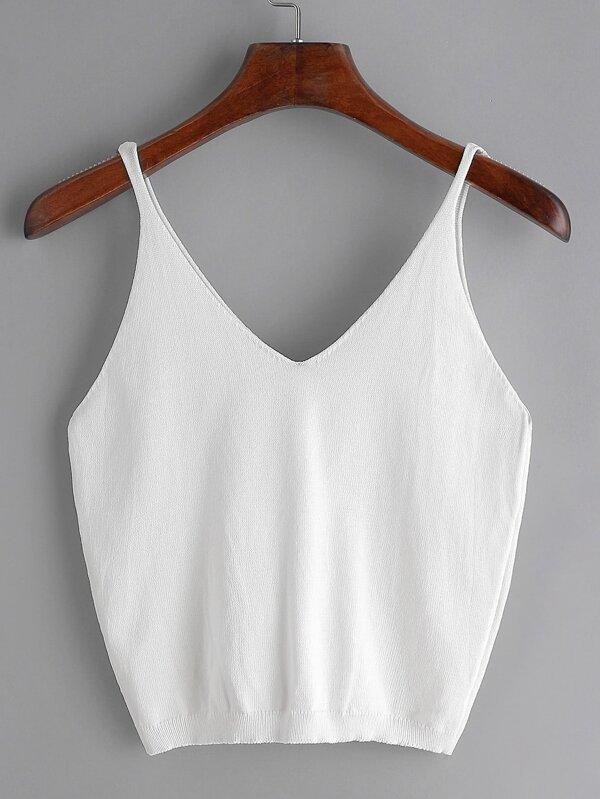 Vêtements Femme Top col V tricot - Blanc