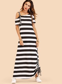 Letter Print Shoulder Strap Striped Drawstring Dress