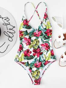 Tropical Print Criss Cross Back One Piece Swimsuit