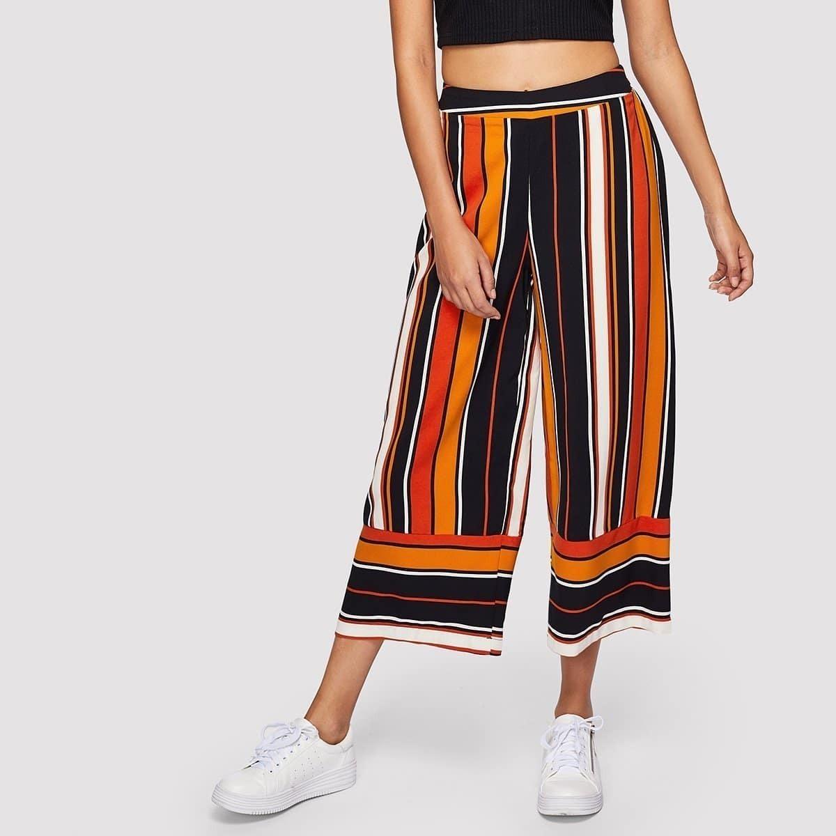 - Striped Print Culotte Pants
